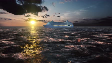 парусное судно : Luxury cruise ship sailing from the port at sunset across the bay