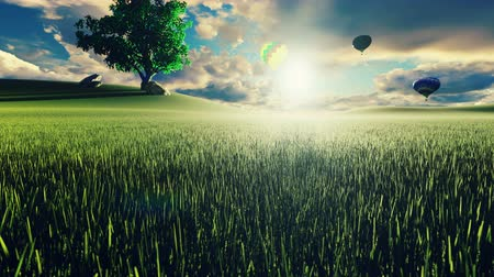 dirigível : Hot air balloon flight at sunset over endless green fields. Beautiful nature and Summer landscape. Beauty, recreation, inspiration, travel and tourism Vídeos