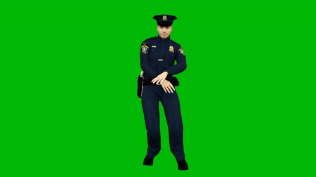 festivais : Policeman dancing to the rhythmic music on the background of the green screen. Looped animation.