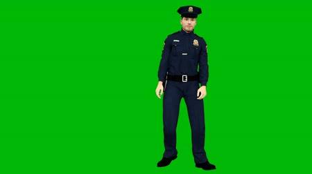 policista : Policeman dancing rhythmic modern dance on a green screen. Looped animation.