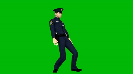 rád : Policeman dancing rhythmic modern dance on a green screen. Looped animation.