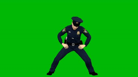 награда : Policeman dancing rhythmic modern dance on a green screen. Looped animation.