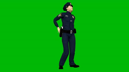 autoridade : Policeman dancing rhythmic modern dance on a green screen. Looped animation.