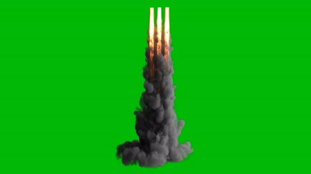 összeg : Exploding fire, smoke and sparks,as if from a jet or rocket engine burns fuel emitting a huge amount of smoke on a green screen