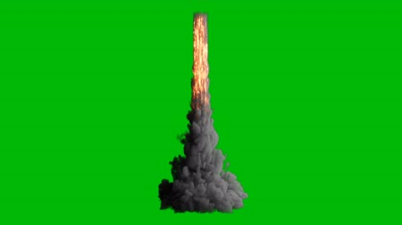 origin : Exploding fire, smoke and sparks,as if from a jet or rocket engine burns fuel emitting a huge amount of smoke on a green screen