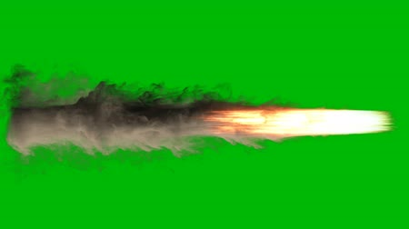 propulsion : Exploding fire, smoke and sparks,as if from a jet or rocket engine burns fuel emitting a huge amount of smoke on a green screen