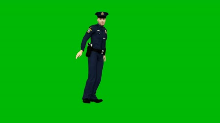 recompensa : Policeman dancing rhythmic modern dance on a green screen. Looped animation.