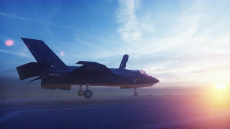 mirage : F-35 fighter takes off vertically from the aircraft carrier at sunrise Stock Footage