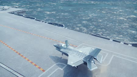 вертикально : F-35 fighter takes off vertically from the aircraft carrier in clear day.