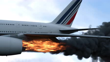 danger of collapse : The engine of the aircraft caught fire and burns with the release of black smoke. Cinematic 3D animation. Stock Footage
