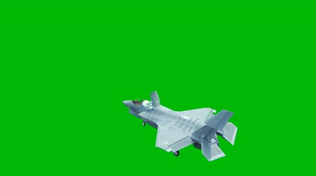 lutador : F-35 fighter takes off vertically from the aircraft carrier in clear day in front of a green screen.