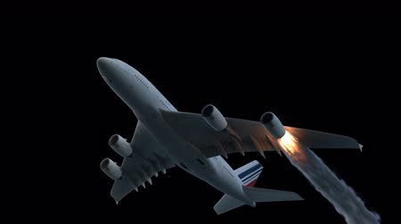 danger of collapse : The engine of the aircraft caught fire and burns with the release of black smoke. Contains the alpha channel. Cinematic 3D animation.