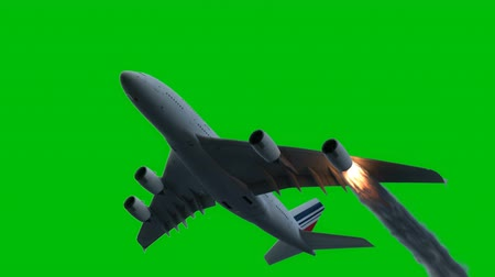 danger of collapse : The engine of the aircraft caught fire and burns with the release of black smoke in front of a green screen.. Cinematic 3D animation.