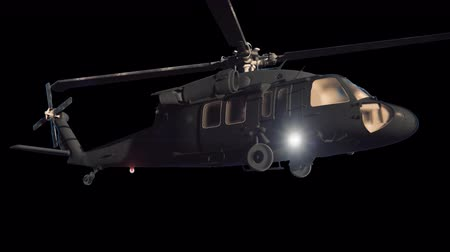 sas : Military helicopter Blackhawk flies. Contains the alpha channel. Cinematic 3D animation. Stock mozgókép