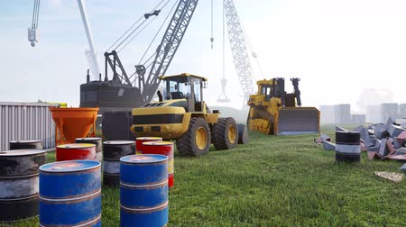 completo : Construction site with cranes and tractors, industrial landscape in a morning. The concept of construction.