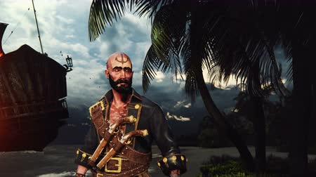 kalóz : Pirate with guns on the sandy beach of pirate island. Concept scene of a pirate with a chest of gold.