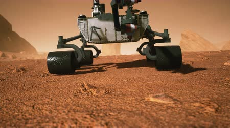 aeroespaço : A space exploration vehicle on the red planet. Highly detailed 3D animation of the Curiosity vehicle on Mars. Vídeos