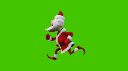 Running merry Santa Claus. The Concept Of Christmas. Looped animation in front of green screen.