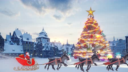 Christmas tree with colorful glowing colorful balls. Santa Claus on a Christmas sleigh with reindeer. Snowmen and Christmas decorations with gifts. A small ancient town in anticipation of the holiday. 무비클립