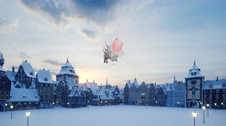 Santa Claus flies on a Christmas sleigh over a small ancient snow town. The concept of the Christmas holiday.