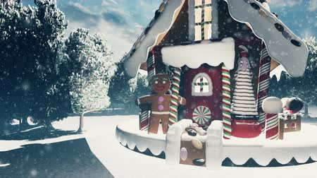 świety mikołaj : Christmas snowman in a snowy enchanted forest and a gingerbread man in the fairy house. Christmas and New year 3D rendering.