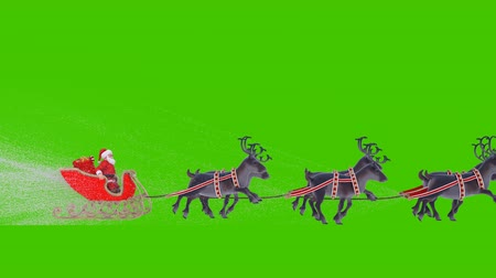 Santa Claus on a Christmas sleigh with reindeer. Animation in front of green screen. Wideo