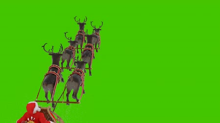 Santa Claus is flying on a Christmas sleigh with reindeer. Animation in front of a green screen.