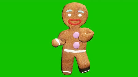 tancerze : The gingerbread man is dancing a Christmas dance. The concept of the celebration. Looped animation in front of green screen.