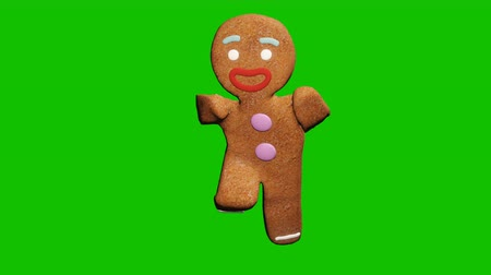peperkoek : The gingerbread man is dancing a Christmas dance. The concept of the celebration. Looped animation in front of green screen.