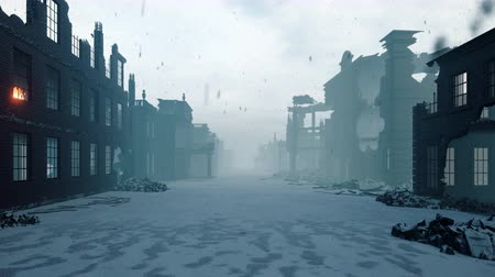tempestade : Apocalypse city in the snow. The camera flies through the ruined city. Deserted post-apocalyptic street in the rubble of buildings. The concept of the Apocalypse. Vídeos