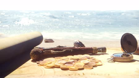 pergament : Pirate compass with gun, spyglass and gold coins lie on the treasure map. Pirate treasures and an old pirate map on a pirate tropical island.