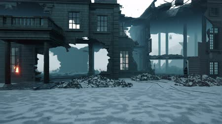 broken glass : Apocalypse city in the snow. The camera flies through the ruined city. Deserted post-apocalyptic street in the rubble of buildings. The concept of the Apocalypse. Stock Footage