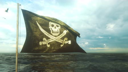 korsanlık : Pirate flag with Jolly Roger. Pirate flag in the wind with cloudy sky on the background of the sea before the storm. Looped Animation. Stok Video