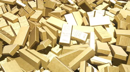 bullion : Animation of the camera flying over a pile of gold bars. Beautiful looped animation. Stock Footage