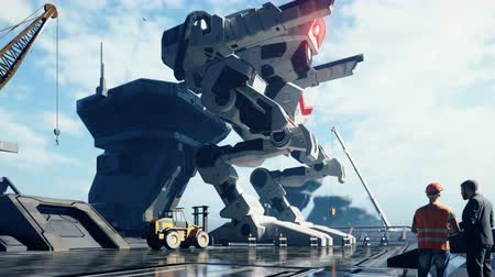 apocalyptic : A huge military robot on a futuristic military training ground. An apocalyptic view of the technology of the future. Stock Footage