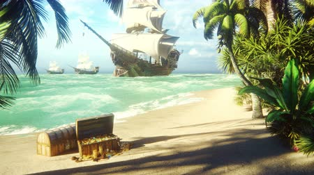 korsanlık : Sand, sea, sky, clouds, palm trees and a clear summer day. Pirate frigates docked near the island. Pirate island and chests of gold. Beautiful looped animation.
