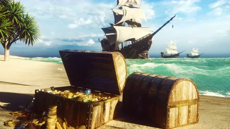 korsan : Pirate frigates docked near a tropical island. Pirate island and treasure chests. Sand, sea, sky, clouds, palm trees and clear day. Beautiful looped animation.