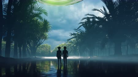 fincan tabağı : A little boy and girl at dusk walk along the wet highway, over which an alien UFO flies. For sci-fi, futuristic, sci-fi or interstellar backgrounds.
