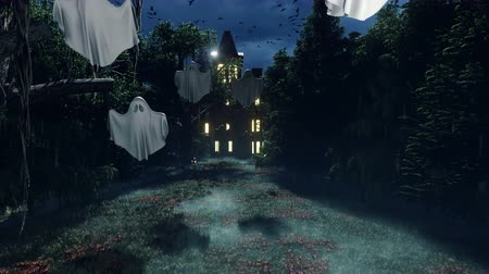 perili : An old abandoned horror house in the forest at night with ghosts and mystical fog. The glowing pumpkins, the celebration of Halloween. The concept of Halloween horror.