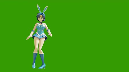 toon : Animation dancing cartoon anime girls. Girl in the style of anime dancing. High quality seamless loop on green background.