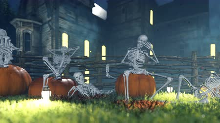 salva : Halloween background animation with the concept of creepy skeletons and old creepy mansion. Dostupné videozáznamy