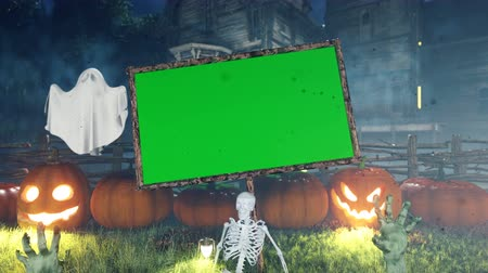 perili : Halloween background animation with green screen banner, with creepy skeleton, hands of the dead, ghost, glowing pumpkin and old creepy mansion.