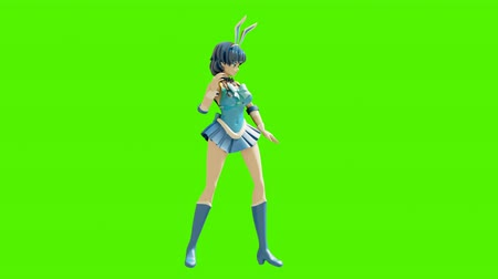 toon : Dance animation of a beautiful cartoon girl. Girl in anime style. High quality and seamless loops on green background.