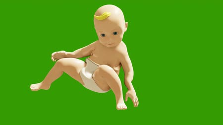 jóvenes discoteca : A small child dancing against a green screen. 3D rendering animation of small dancing children. Looped background. Archivo de Video