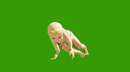 tancerze : A small child dancing against a green screen. 3D rendering animation of small dancing children. Looped background. Wideo