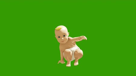 tancerze : A small child dancing against a green screen. 3D rendering animation of small dancing children.