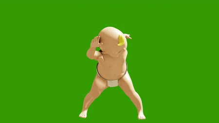 taniec : A small child dancing against a green screen. 3D rendering animation of small dancing children. Looped animation. Wideo