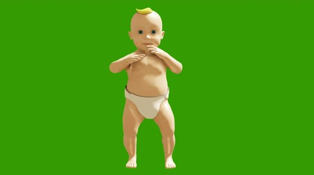 tancerze : A small child dancing against a green screen. 3D rendering animation of small dancing children. Looped animation. Wideo