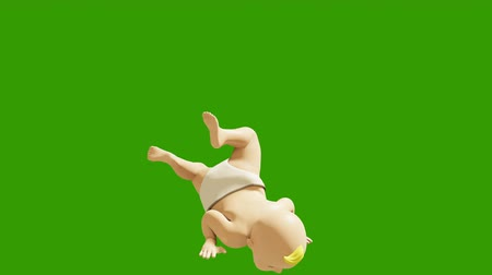 jóvenes discoteca : A small child dancing against a green screen. 3D rendering animation of small dancing children. Looped animation. Archivo de Video