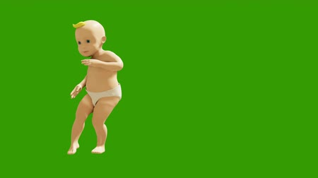 taniec : A little baby is dancing merrily on the background of a green screen. 3D visualization, animation of a dancing child. Looped animation.